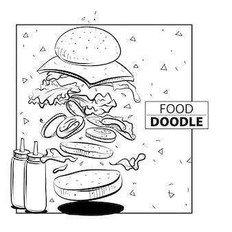 Salto de hamburguesa doodle food. en blanco y negro. a mano
