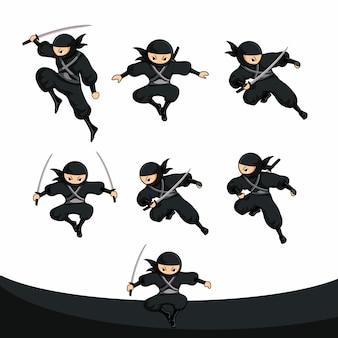 Salto ninja negro de dibujos animados en versión real