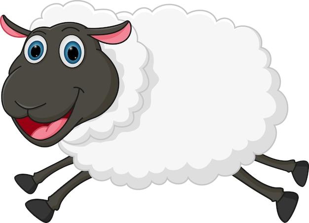 Salto de ovejas feliz