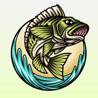 Salto de pez bajo grande.