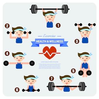 Salud y bienestar, entrenamiento con pesas