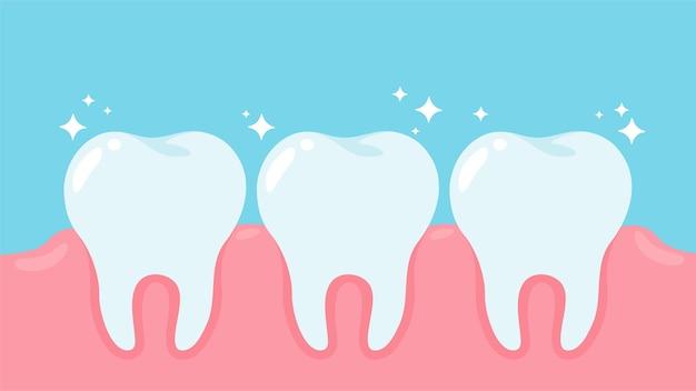 Salud bucal y encías saludables de dibujos animados concepto de cuidado dental. Vector Premium
