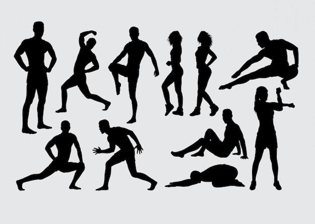 Salud deporte masculino y femenino silueta