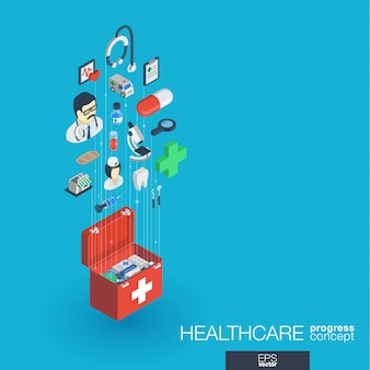 Salud, iconos web integrados. concepto de progreso isométrico de red digital. sistema de crecimiento de línea gráfica conectado. fondo abstracto para medicina y servicio médico. infografía