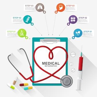 Salud y medicina en infografía médica.