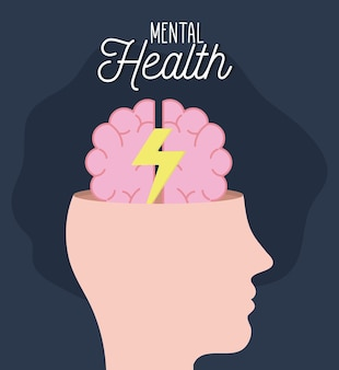 Salud mental con cerebro y trueno dentro de la mente y tema humano