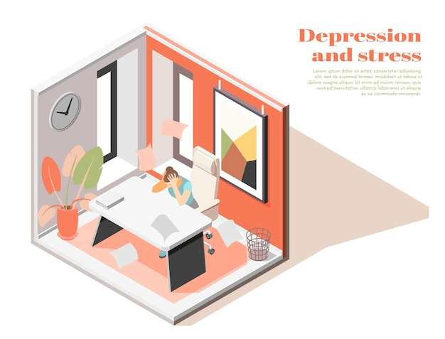 Salud mental en la composición isométrica del lugar de trabajo con ilustración de síntomas de depresión de ansiedad relacionada con el trabajo de empleada