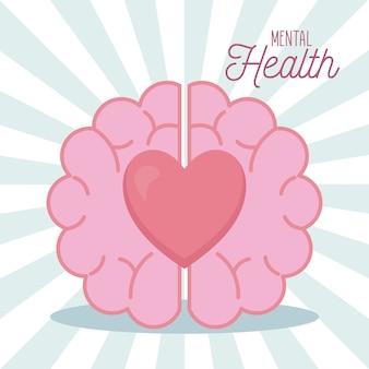 Salud mental con icono de cerebro y corazón de la mente y el tema humano