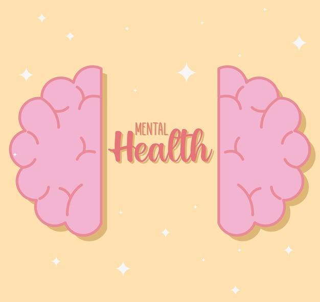 Salud mental con icono de cerebro de mente y tema humano