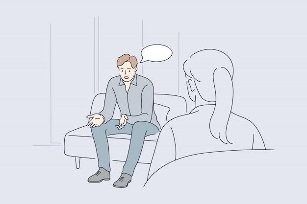 Salud, psicología, reunión, comunicación, ayuda, concepto de depresión.