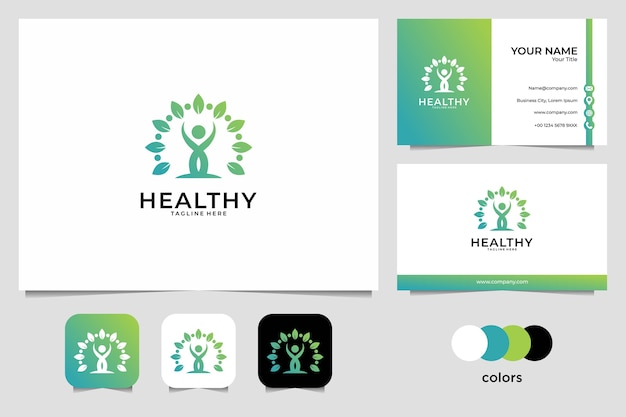Saludable con diseño de logotipo de personas y tarjeta de visita. buen uso del logo médico