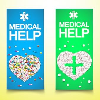 Saludables pancartas verticales médicas con drogas píldoras cápsulas en forma de corazones