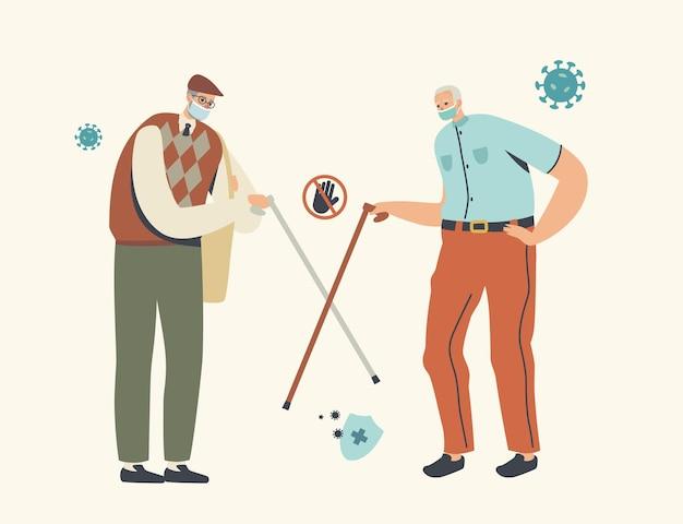 Saludo alternativo de amigos mayores sin contacto durante la epidemia de coronavirus