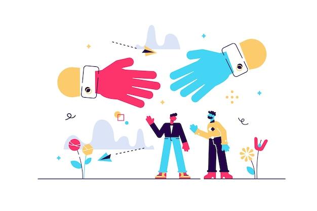 Saludo de apretón de manos como comunicación comercial