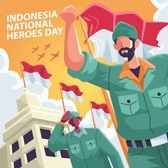 Saludo a la bandera publicación en redes sociales del día de los héroes nacionales de indonesia