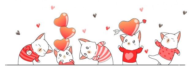 Saludo banner con personajes de gato para el día de san valentín