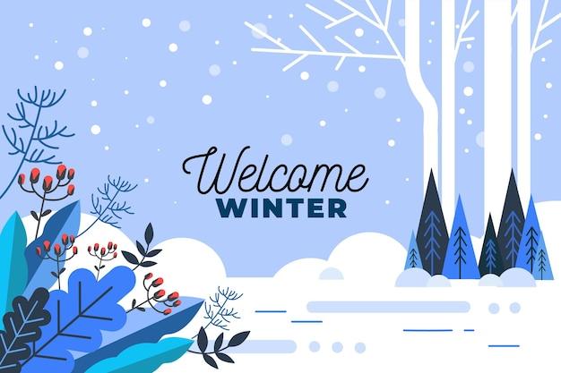 Saludo de bienvenida de invierno sobre fondo ilustrado