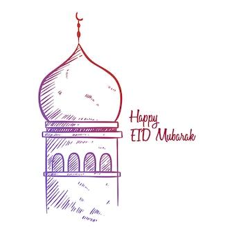 Saludo de bosquejo feliz de eid mubarak con la ilustración de la mezquita