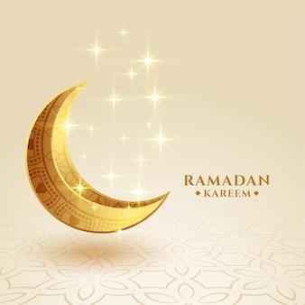 Saludo brillante de la luna creciente dorada de ramadan kareem