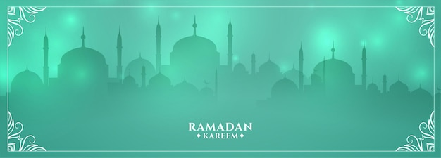 Saludo brillante de la mezquita de ramadan kareem