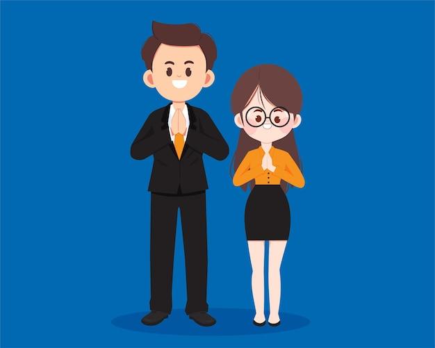 Saludo de carácter de gente de negocios con ilustración de arte de dibujos animados de namaste