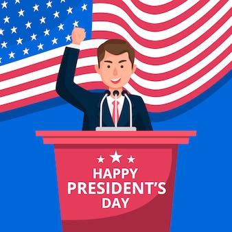 Saludo colorido del día del presidente