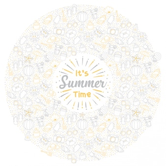 Saludo conjunto de vacaciones de verano de icono lindo en círculo y fondo blanco