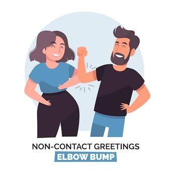 Saludo sin contacto ilustrado