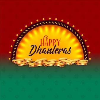 Saludo creativo feliz de la tarjeta del festival de dhanteras