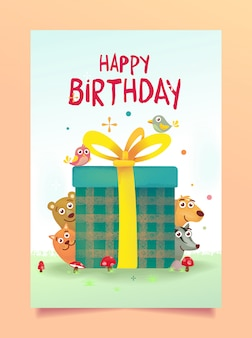 Saludo de cumpleaños con lindo animal