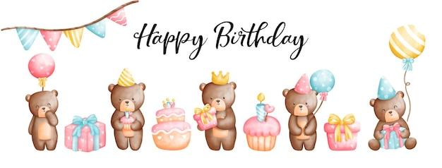 Saludo de cumpleaños del oso de peluche de la acuarela de la pintura digital