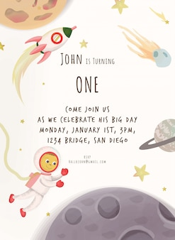 Saludo de cumpleaños con tema espacial