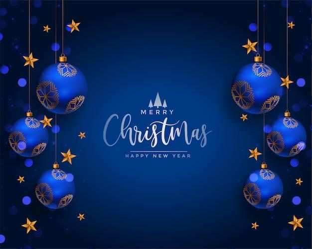 Saludo de decoración de bolas realistas de feliz navidad