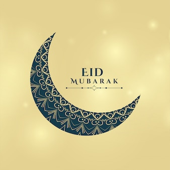 Saludo decorativo de la tarjeta eid moon