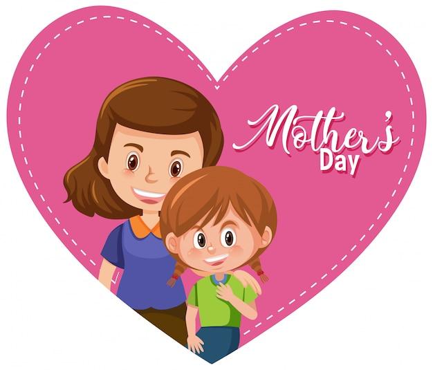 Saludo del día de la madre con mamá y niña dentro del gran corazón
