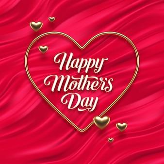 Saludo del día de las madres en marco dorado en forma de corazón sobre ondas de fluido rojo.