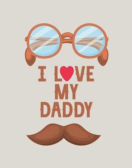 Saludo del día del padre con letras y anteojos. me encanta papi