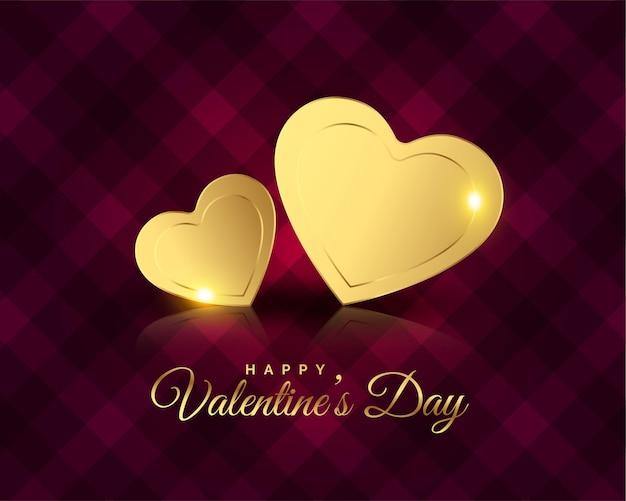Saludo del día de san valentín de corazones dorados premium