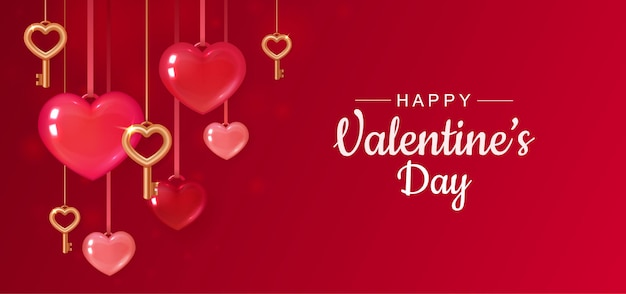 Saludo del día de san valentín con corazones rojos y llaves doradas.