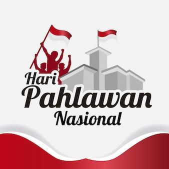 Saludo del diseño de plantilla nasional de hari pahlawan
