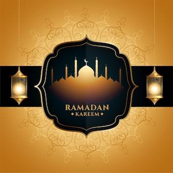 Saludo dorado de ramadan kareem con mezquita y linterna