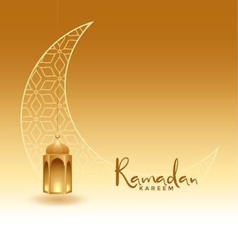 Saludo dorado realista de ramadan kareem