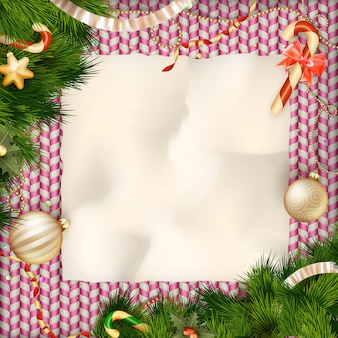 Saludo de dulces de vacaciones y tarjeta de navidad.