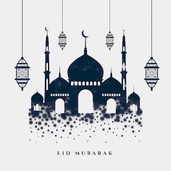 Saludo elegante eid mubarak islámico con mezquita y lámparas