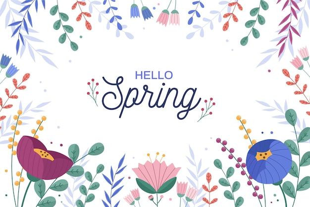 Saludo estacional de primavera con flores