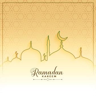 Saludo de estilo de línea de ramadan kareem islámico