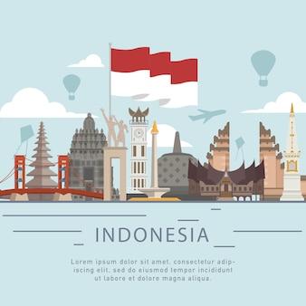 Saludo del estilo plano día de la independencia de indonesia