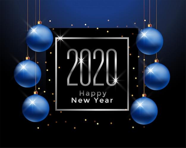 Saludo de feliz año nuevo 2020 con bolas de navidad azules