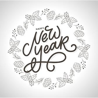 Saludo de feliz año nuevo con texto de caligrafía negra. elementos de diseño dibujados a mano. letras de pincel moderno manuscritas