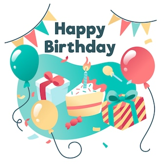 Saludo de feliz cumpleaños con pastel y regalos